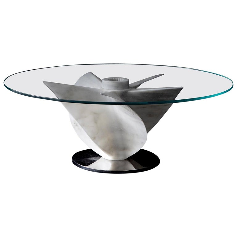 Marble Coffee Table in White Carrara Marble with Glass Top For Sale