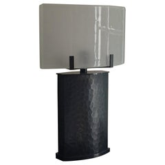 Idun Bronze and Glass Table Lamp, Signed by Stefan Leo