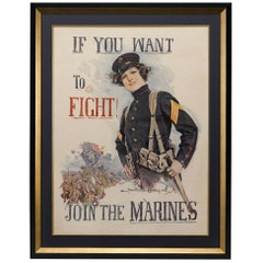 "U.S. Marines Antique WWI Poster, ""If You Want to Fight! / Join the Marines"" 1915"