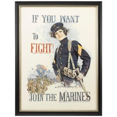 If You Want To Fight Join The Marines World War I Recruitment Poster, 1917