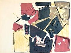 "Israeli Josef Zaritsky Abstract Modernist Lithograph Print ""Composition"""