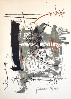 "Israeli Tumarkin Abstract Modernist Graffiti Art Lithograph Print ""Broken Hour"""