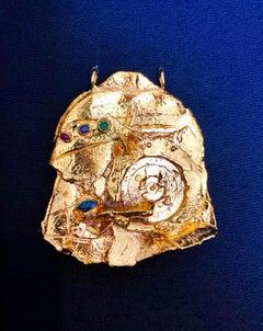 Gilt Bronze Sculpture Brooch Wearable Art Israeli Tumarkin Abstract Surrealist