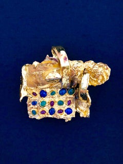 Gold Gilt Bronze Sculpture Brooch Art Israeli Tumarkin Abstract Surrealist