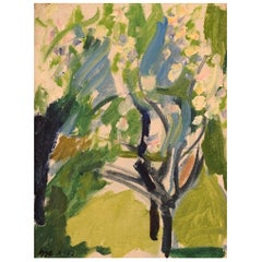 "Igge Karlsson, Swedish Artist, Oil on Board, ""Trees in the Garden"""