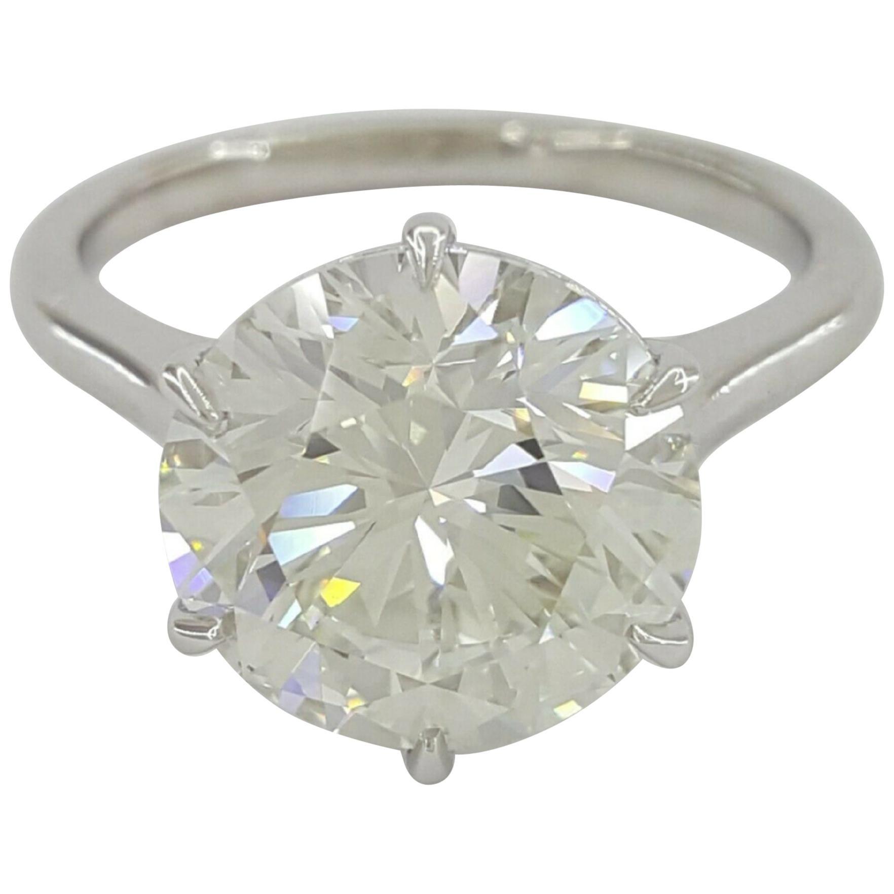 GIA 3.25 Carat Round Brilliant Cut Diamond Platinum Ring Triple Excellent