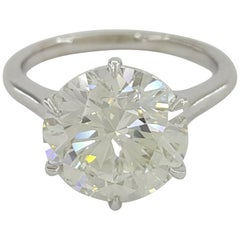 GIA 5 Carat Round Brilliant Cut Diamond Ring VS2 I Color Triple Excellent