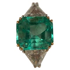 IGI 6.38 Carat Natural Emerald Diamond Ring
