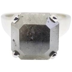 IGI 8.10 Carat Fancy Gray Natural Radiant Diamond Ring 14 Karat Gold