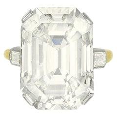 IGI ANTWERP 12 Carat Emerald Cut Diamond Ring