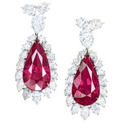 IGI Antwerp 6.17 Carat Rubies Diamond Dangle Drop Earrings Handmade in Italy