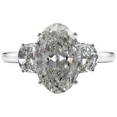 IGI Antwerp 6.65 Carat Oval Diamond Platinum Ring