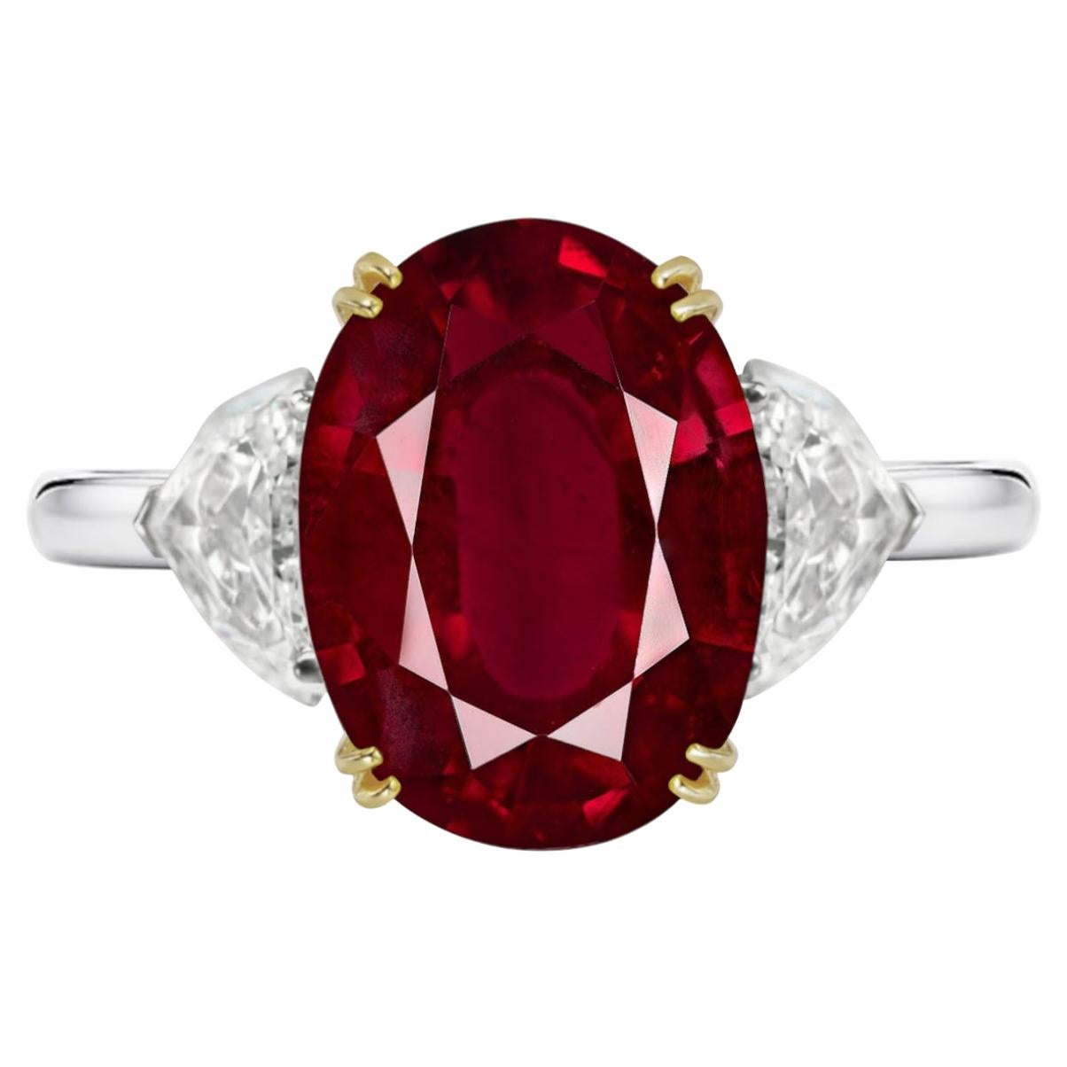 IGI ANTWERP Certified 4.75 Carat Oval Peagon's Blood  Red Ruby Ring