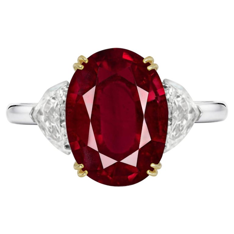 IGI ANTWERP Certified 4.75 Carat Oval Red Ruby Ring For Sale