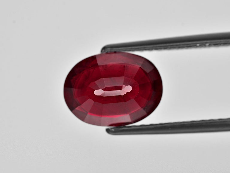 Oval Cut IGI ANTWERP Certified 4.75 Carat Oval Red Ruby Ring For Sale