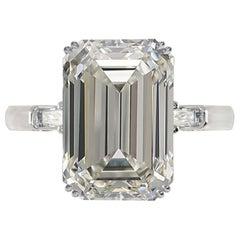 IGI ANTWERP Certified 5.50 Carat Emerald Cut Diamond Platinum Ring VS1 Clarity