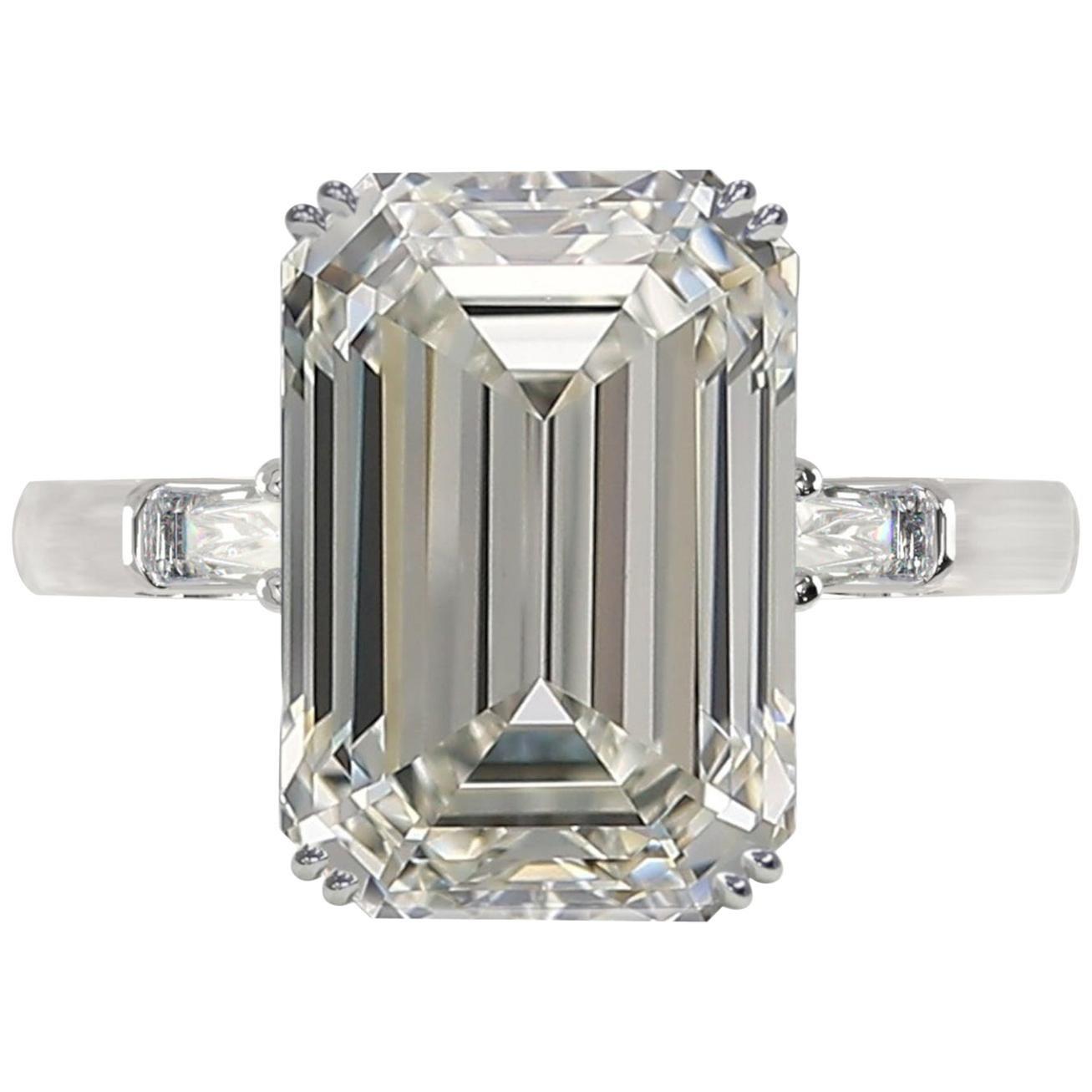 GIA Certified 3 Carat D VVS1 Emerald Cut Diamond White Gold Ring