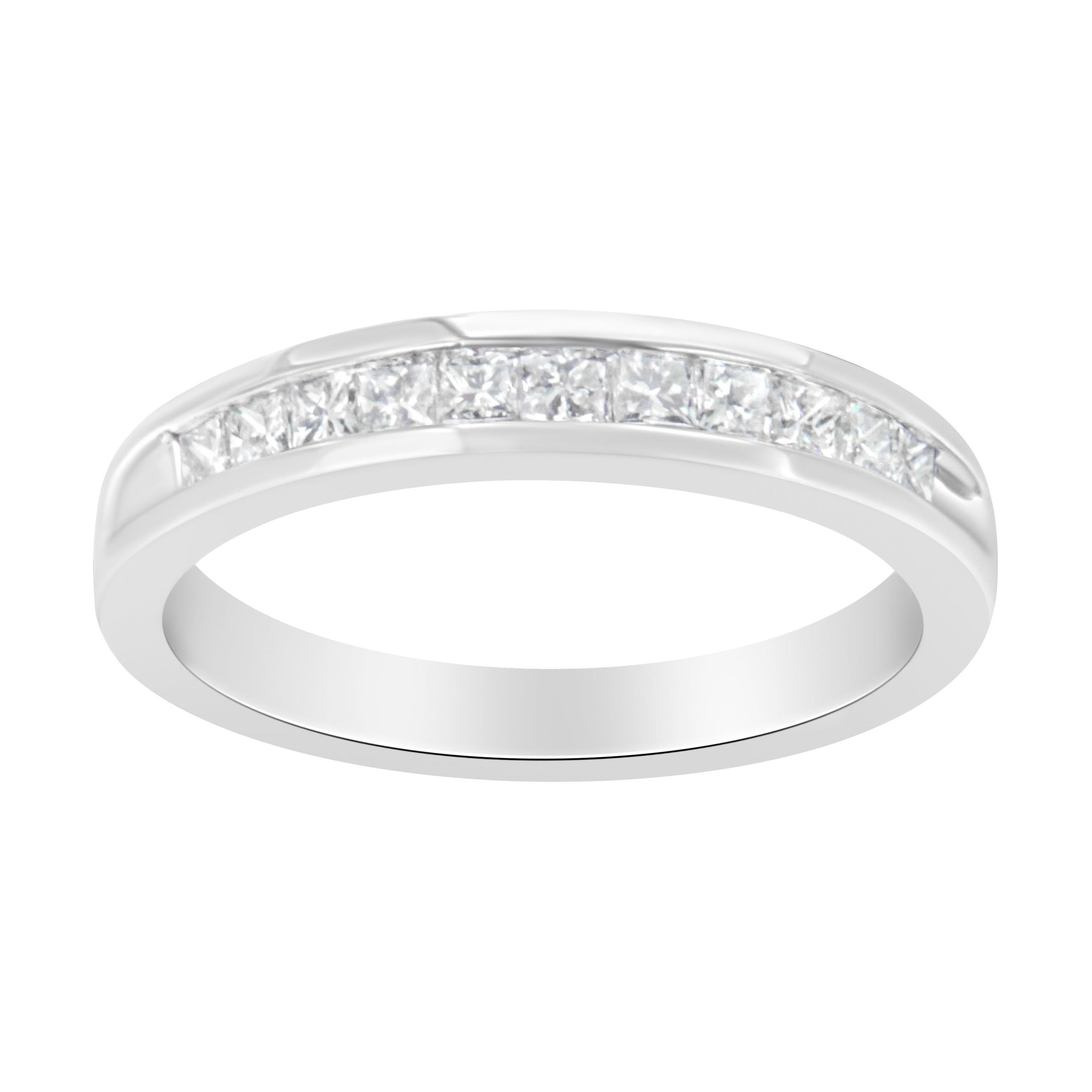 IGI Certified 1/2 Cttw Princess Cut Diamond 18K White Gold Band, Ring