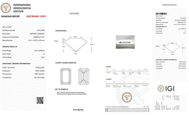 Emerald Cut IGI Certified 10.01 Carat Excellent Cut Emerald Diamond Ring For Sale