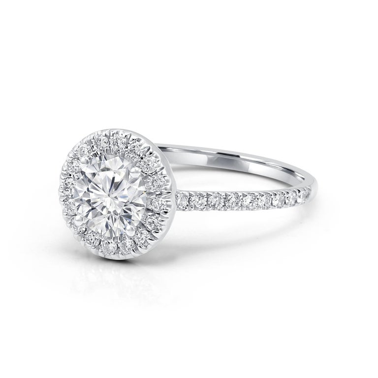Contemporary White Diamond Round Halo 1.51 Carat Total 14K Gold Classic Engagement Ring For Sale