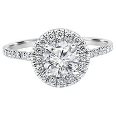 White Diamond Round Halo 1.51 Carat Total 14K Gold Classic Engagement Ring