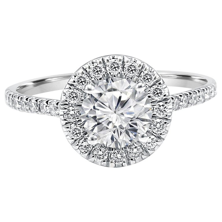White Diamond Round Halo 1.51 Carat Total 14K Gold Classic Engagement Ring For Sale