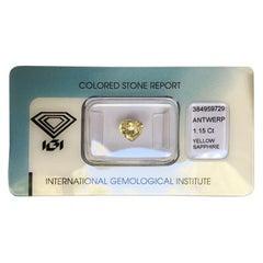 IGI Certified 1.15 Carat Ceylon Yellow Sapphire Heart Cut Loose Blister Gem