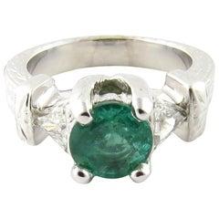 IGI Certified 14 Karat White Gold Natural Emerald and Diamond Ring
