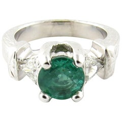 IGI Certified 14 Karat White Gold Natural Emerald and Diamond Ring