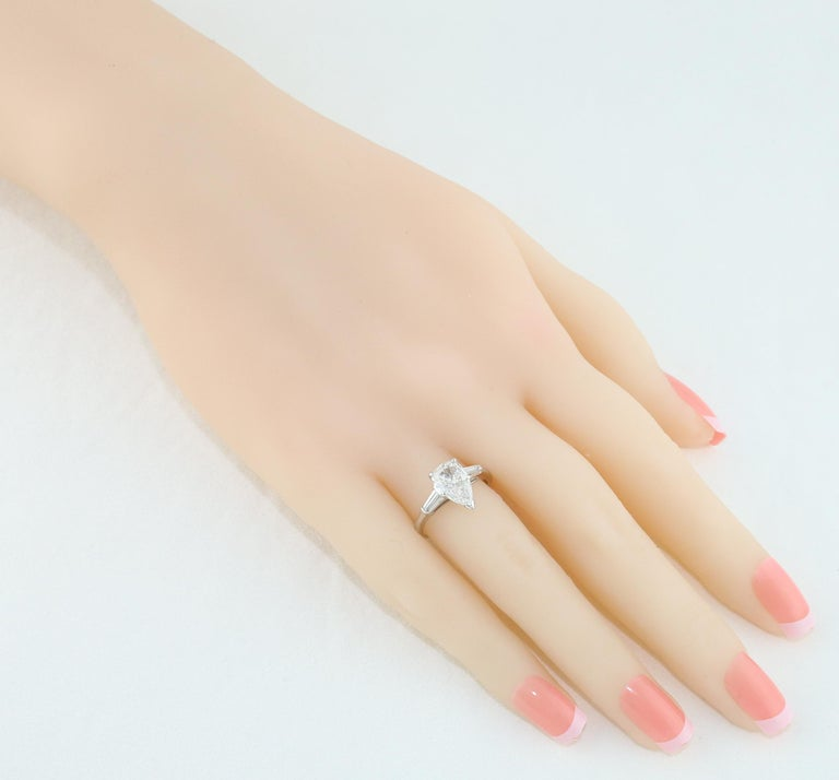 Pear Cut IGI Certified 1.41 Carat Pear Shape Diamond Platinum Engagement Ring For Sale