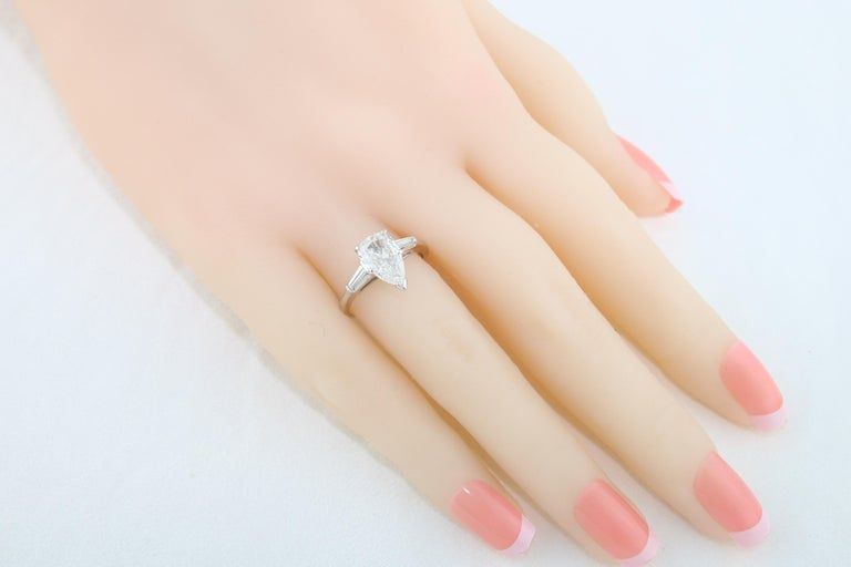 IGI Certified 1.41 Carat Pear Shape Diamond Platinum Engagement Ring For Sale 1