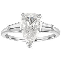 IGI Certified 1.41 Carat Pear Shape Diamond Platinum Engagement Ring