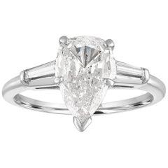 IGI Certified 1.41 Carat Pear Shape Diamond Platinum Engagement Ring