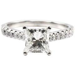 IGI Certified 1.48 Carat I VS1 Princess Cut 18 Karat White Gold Diamond Ring