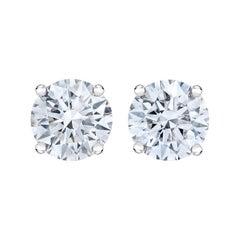 IGI Certified 14K White Gold 1/2 Cttw Lab Grown Round-Cut Diamond Stud Earrings