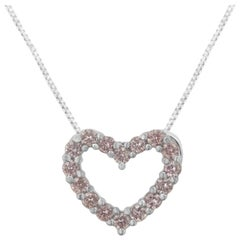 IGI Certified 14K White Gold 1/4 Cttw Natural Pink Diamond Heart Necklace