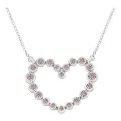 IGI Certified 14k White Gold 1/4ct TDW Natural Pink Diamond Heart Necklace