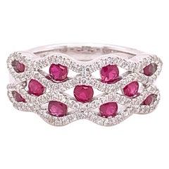 IGI Certified 14K White Gold Ruby and Diamond Ring