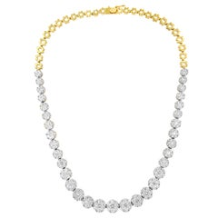 IGI Certified 14K Yellow Gold 14 3/4 cttw Pave Set Diamond Riviera Necklace