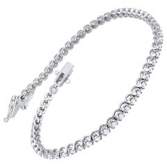 IGI Certified 1.50 Carat Natural Diamond Bracelet 10 Karat White Gold Diamond