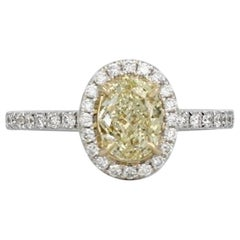 IGI Certified 1.50 Carat Natural Fancy Cut Light Yellow Diamond Ring