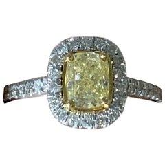 IGI Certified 1.70 Carat Fancy Yellow VVS2 Cushion Cut Diamond Ring Halo 18 K
