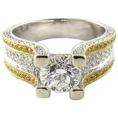 IGI Certified 18 Karat White and Gold Natural White and Yellow Diamond Ring