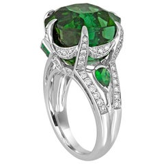 IGI Certified 19.00 Carat Tourmaline Tsavorite Diamond Gold Ring
