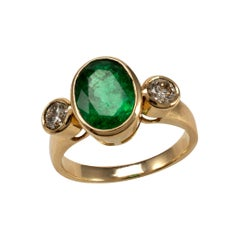 IGI Certified 3.5 Carat Emerald and Diamond Bezel Statement Ring 18 Karat Gold
