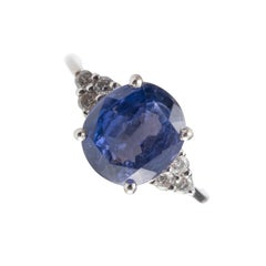 IGI Certified 3.55 Carat Color Change Sapphire Diamond Ring 18 Karat White Gold
