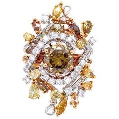 IGI Certified 3.57 Carat Brown Diamond Multi-Occasion Ring in 18 Karat Gold