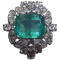 IGI Certified 3.88 Carat Natural Emerald Marquise Brilliant Cut Diamond Ring