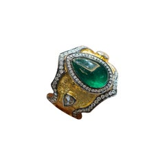 IGI Certified 3.93 Carat Emerald 1.15 Carat White Diamond Mughal Era Ring