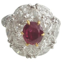 IGI Certified 4.23 Carat Natural Oval Ruby No Heat And White Diamond Ring In 18K